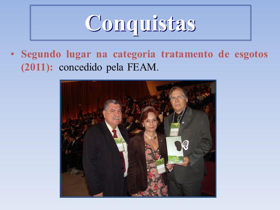 Conquistas Segundo lugar na categoria tratamento de esgotos (2011): concedido pela FEAM.
