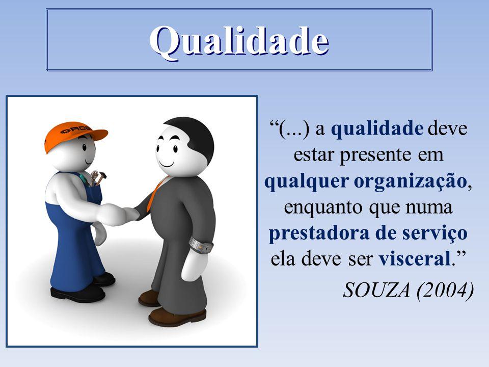 Qualidade (...) a qualidade deve estar presente em qualquer organização, enquanto que numa prestadora de serviço ela deve ser visceral.