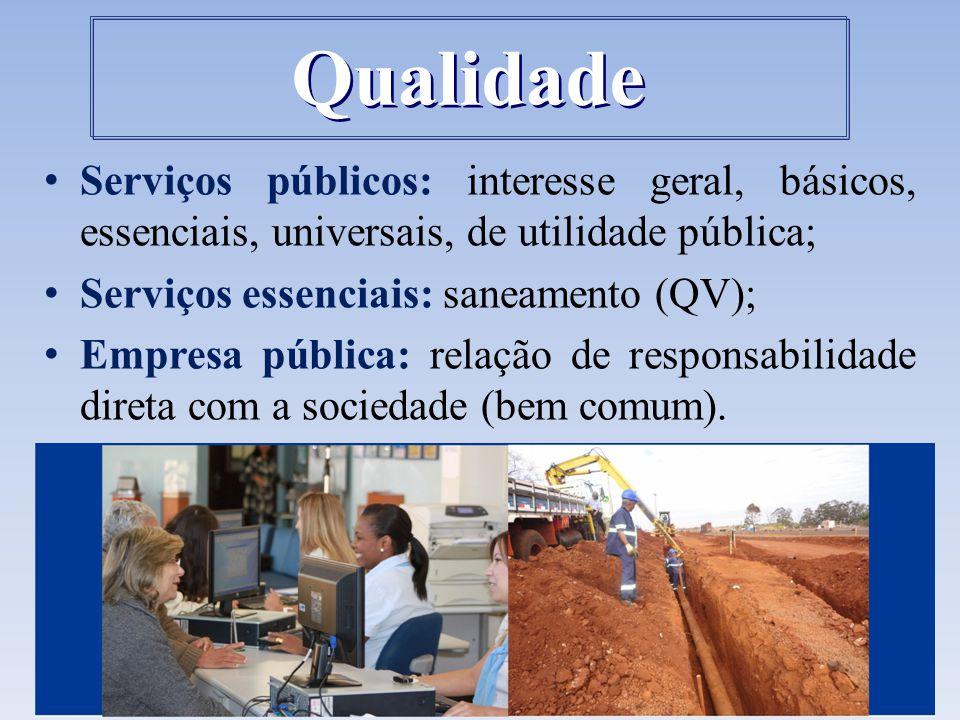 Qualidade Serviços públicos: interesse geral, básicos, essenciais, universais, de utilidade pública;