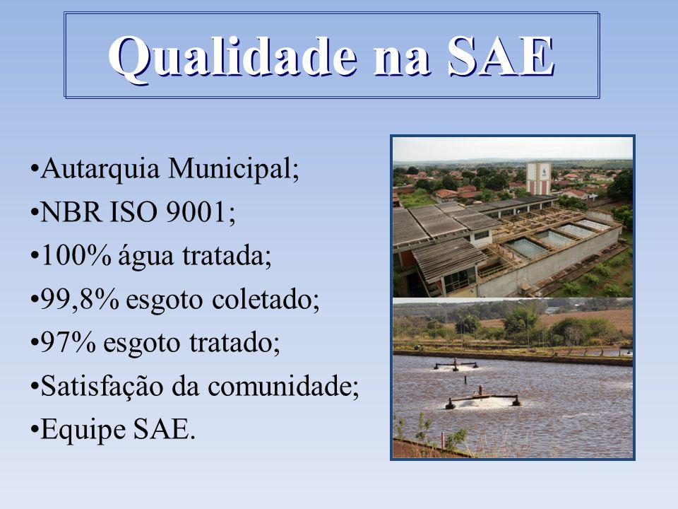 Qualidade na SAE Autarquia Municipal; NBR ISO 9001; 100% água tratada;
