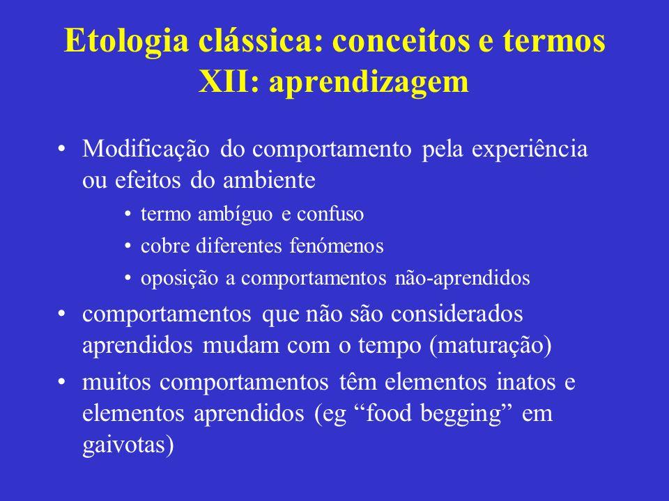 Etologia clássica: conceitos e termos XII: aprendizagem