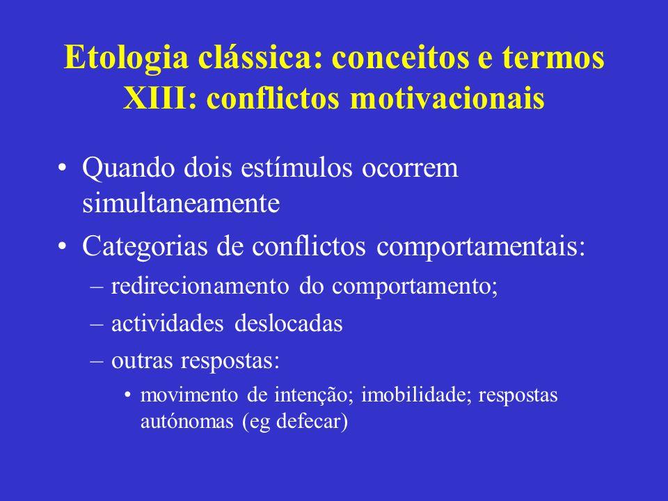 Etologia clássica: conceitos e termos XIII: conflictos motivacionais