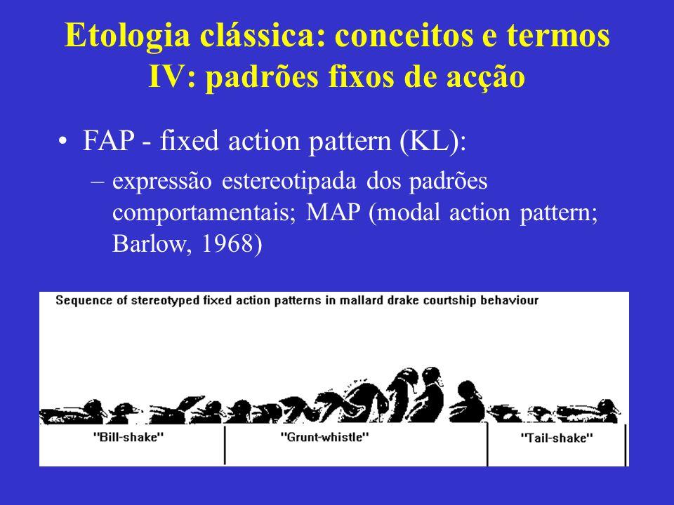 Etologia clássica: conceitos e termos IV: padrões fixos de acção