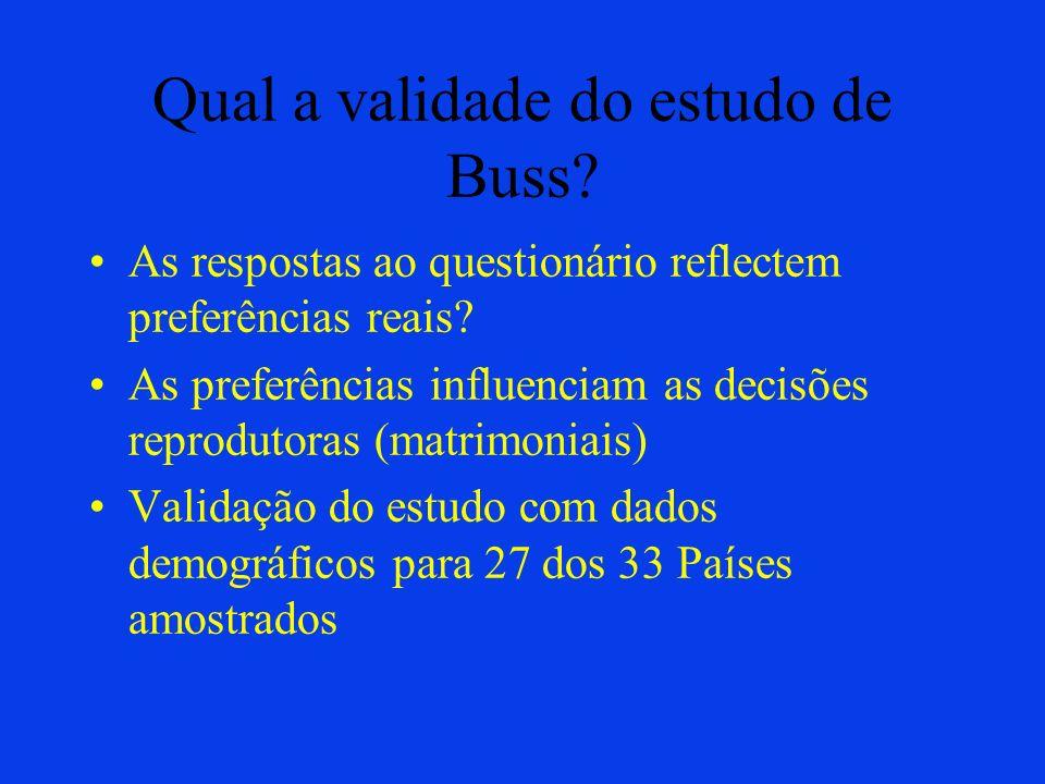 Qual a validade do estudo de Buss
