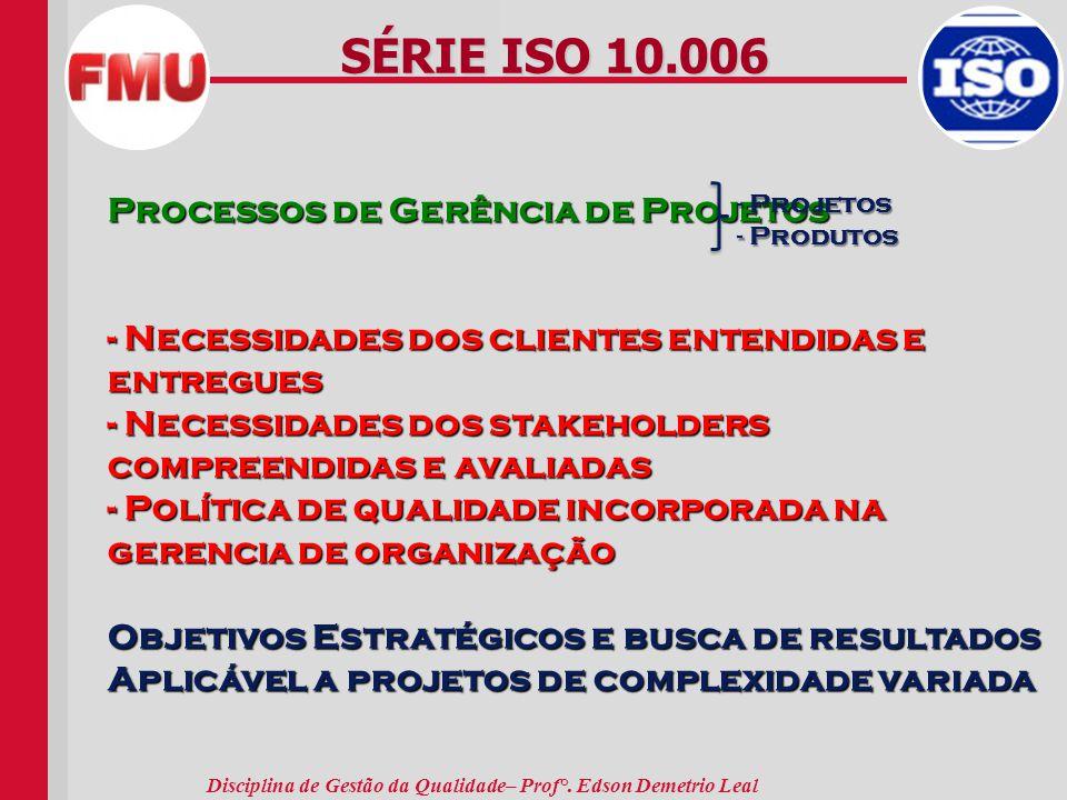 SÉRIE ISO 10.006 Processos de Gerência de Projetos