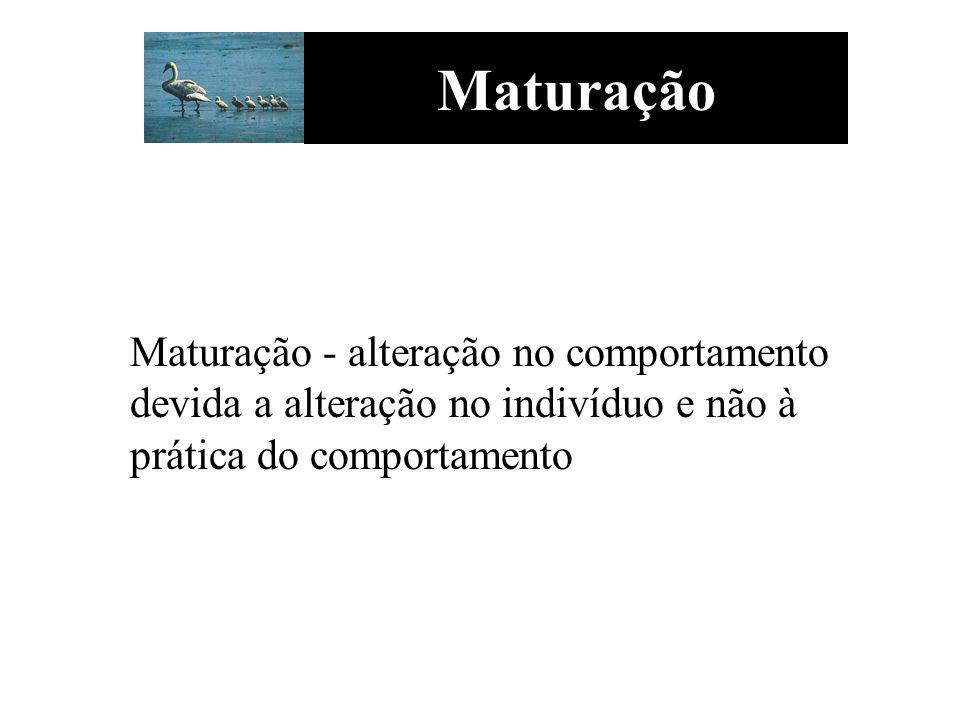 Maturação Maturação - alteração no comportamento devida a alteração no indivíduo e não à prática do comportamento.