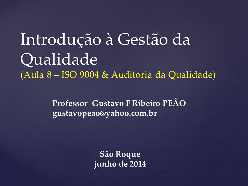 Introdução à Gestão da Qualidade (Aula 8 – ISO 9004 & Auditoria da Qualidade)