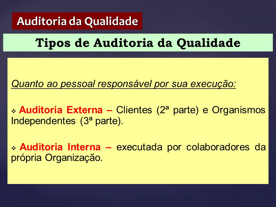 Auditoria da Qualidade Tipos de Auditoria da Qualidade
