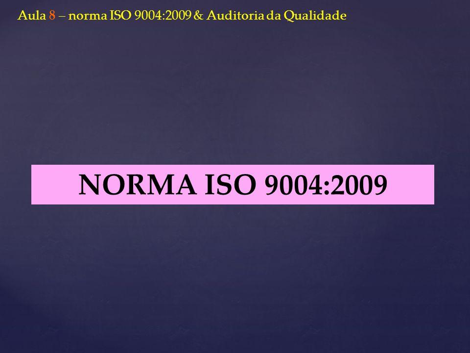 Aula 8 – norma ISO 9004:2009 & Auditoria da Qualidade