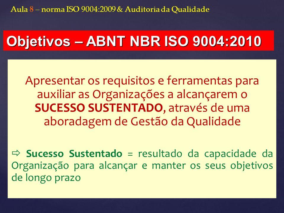 Objetivos – ABNT NBR ISO 9004:2010
