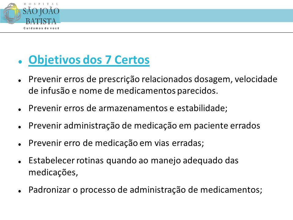 Objetivos dos 7 Certos Prevenir erros de prescrição relacionados dosagem, velocidade de infusão e nome de medicamentos parecidos.