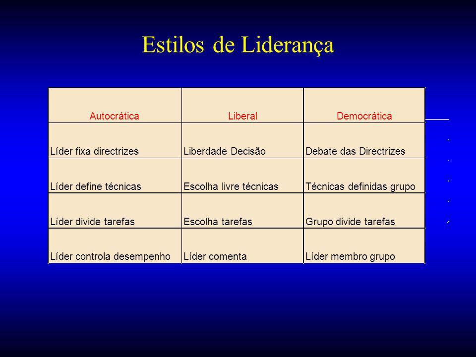 Estilos de Liderança Autocrática Liberal Democrática
