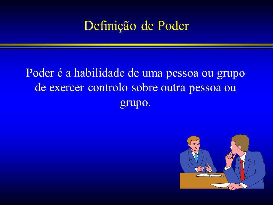 Definição de Poder Poder é a habilidade de uma pessoa ou grupo de exercer controlo sobre outra pessoa ou grupo.