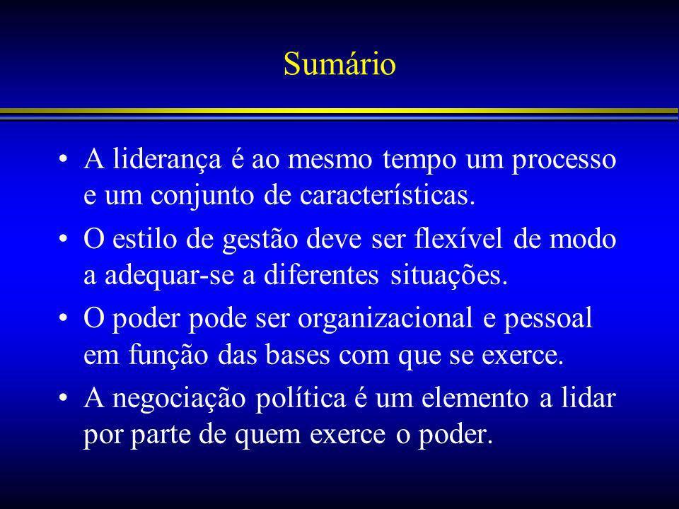 Sumário A liderança é ao mesmo tempo um processo e um conjunto de características.