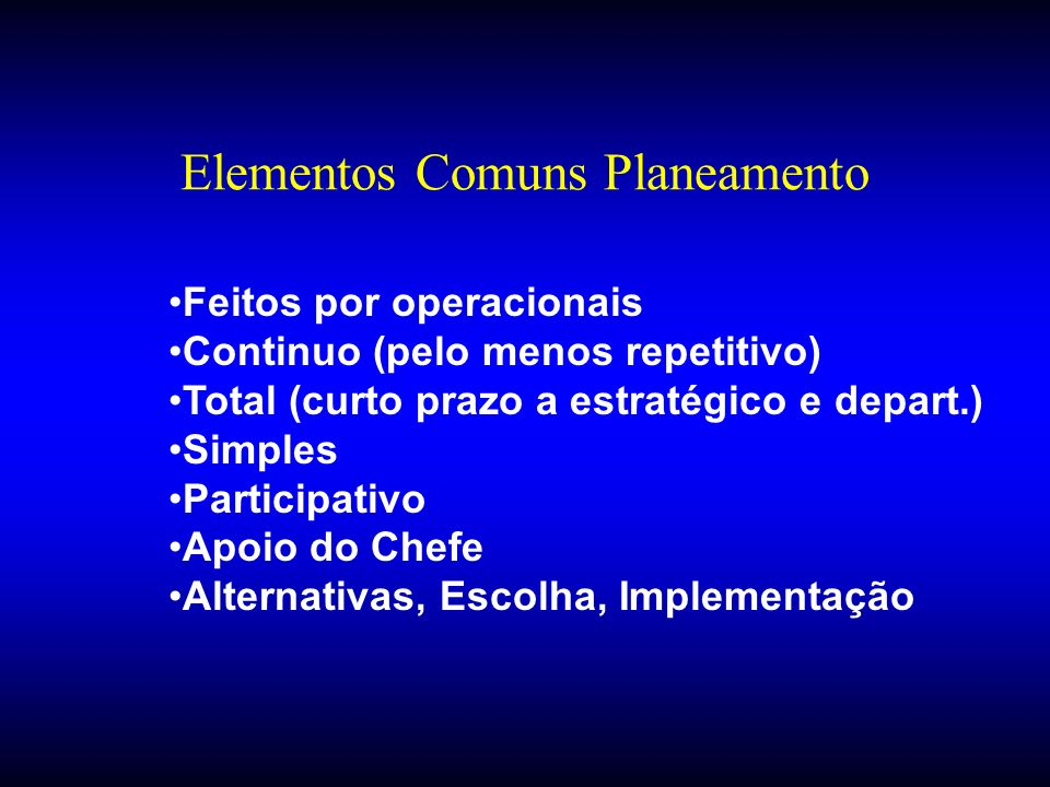 Elementos Comuns Planeamento