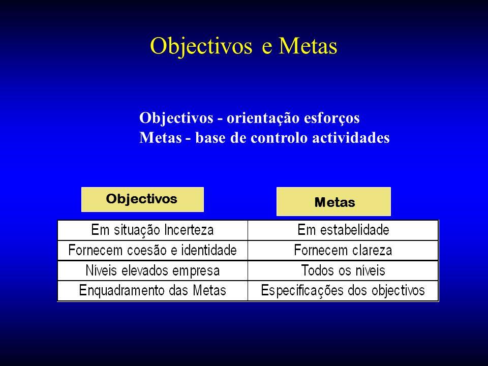 Objectivos e Metas Objectivos - orientação esforços