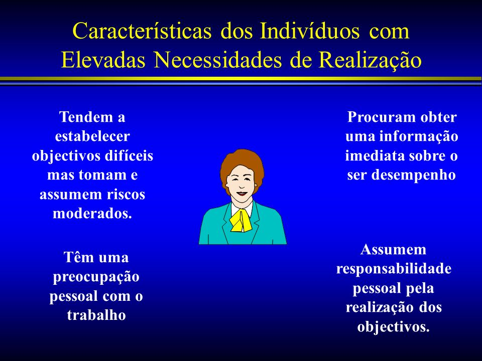 Características dos Indivíduos com Elevadas Necessidades de Realização
