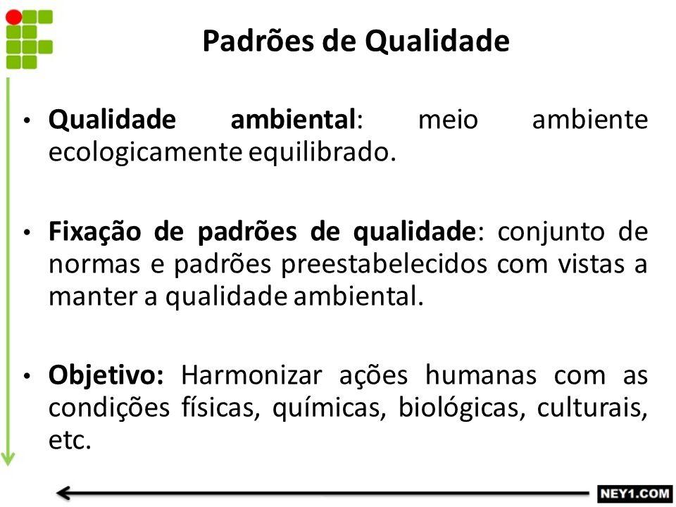 Padrões de Qualidade Qualidade ambiental: meio ambiente ecologicamente equilibrado.