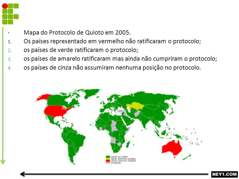 Mapa do Protocolo de Quioto em 2005.