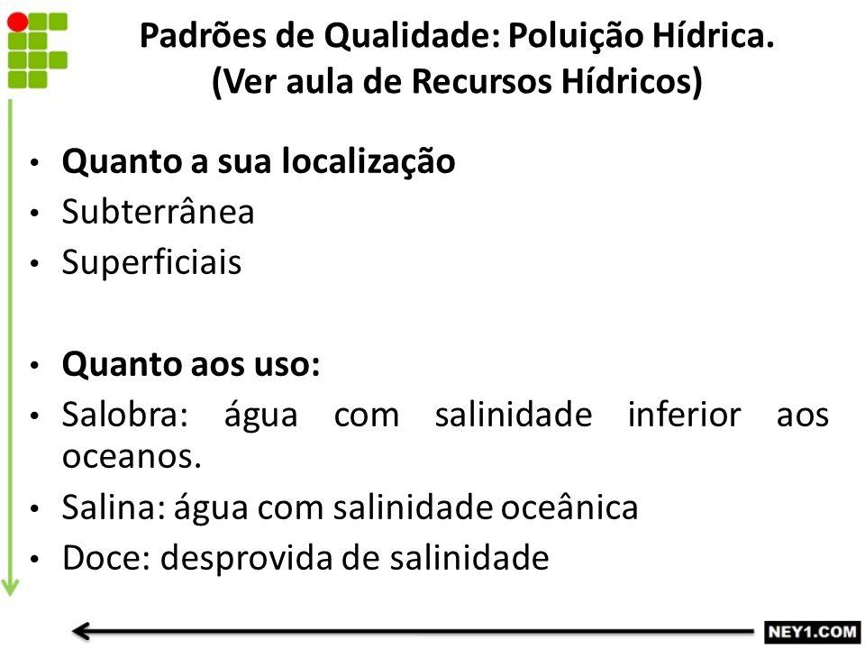 Padrões de Qualidade: Poluição Hídrica. (Ver aula de Recursos Hídricos)