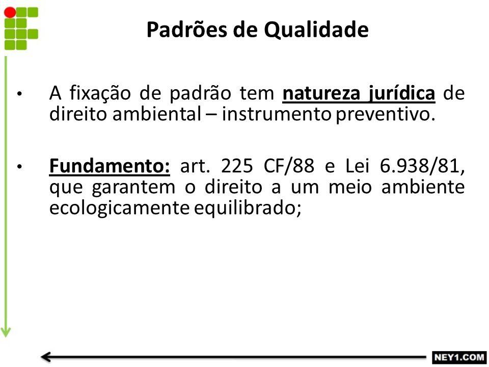 Padrões de Qualidade A fixação de padrão tem natureza jurídica de direito ambiental – instrumento preventivo.