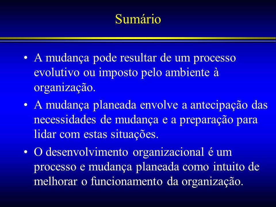 Sumário A mudança pode resultar de um processo evolutivo ou imposto pelo ambiente à organização.