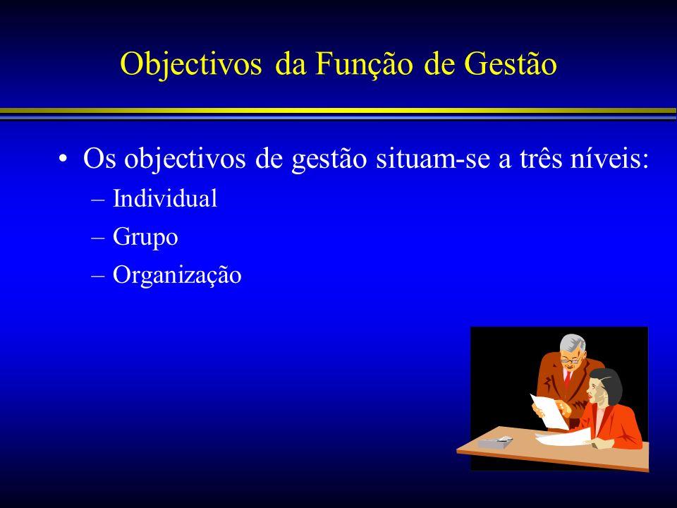 Objectivos da Função de Gestão