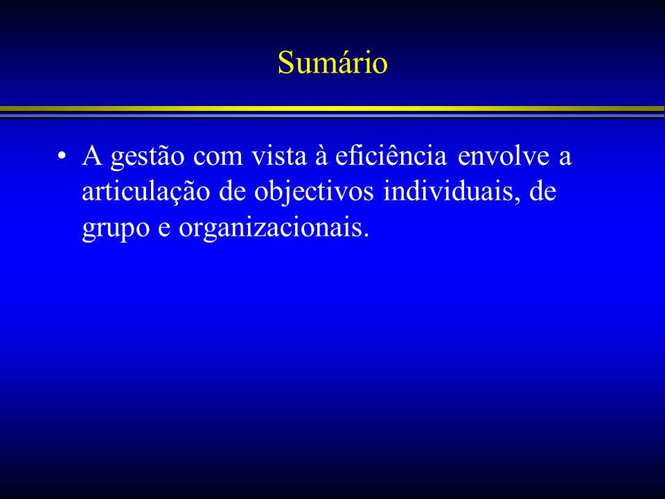 Sumário A gestão com vista à eficiência envolve a articulação de objectivos individuais, de grupo e organizacionais.