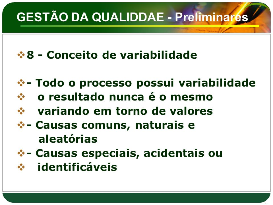 GESTÃO DA QUALIDDAE - Preliminares