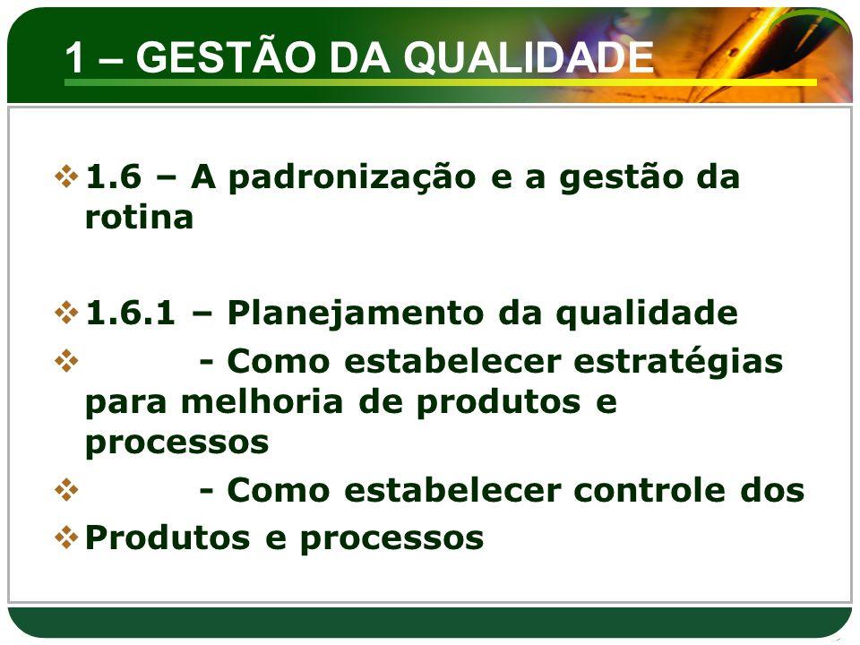 1 – GESTÃO DA QUALIDADE 1.6 – A padronização e a gestão da rotina