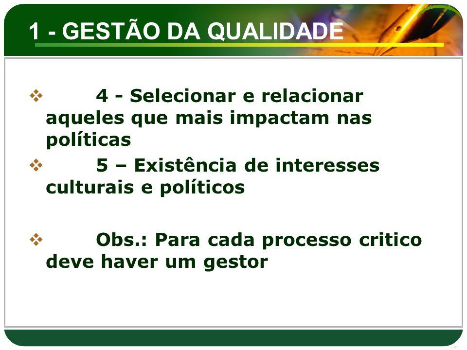 1 - GESTÃO DA QUALIDADE 4 - Selecionar e relacionar aqueles que mais impactam nas políticas. 5 – Existência de interesses culturais e políticos.