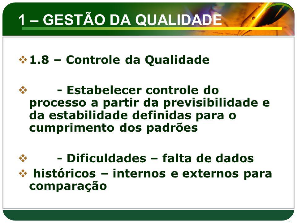 1 – GESTÃO DA QUALIDADE 1.8 – Controle da Qualidade