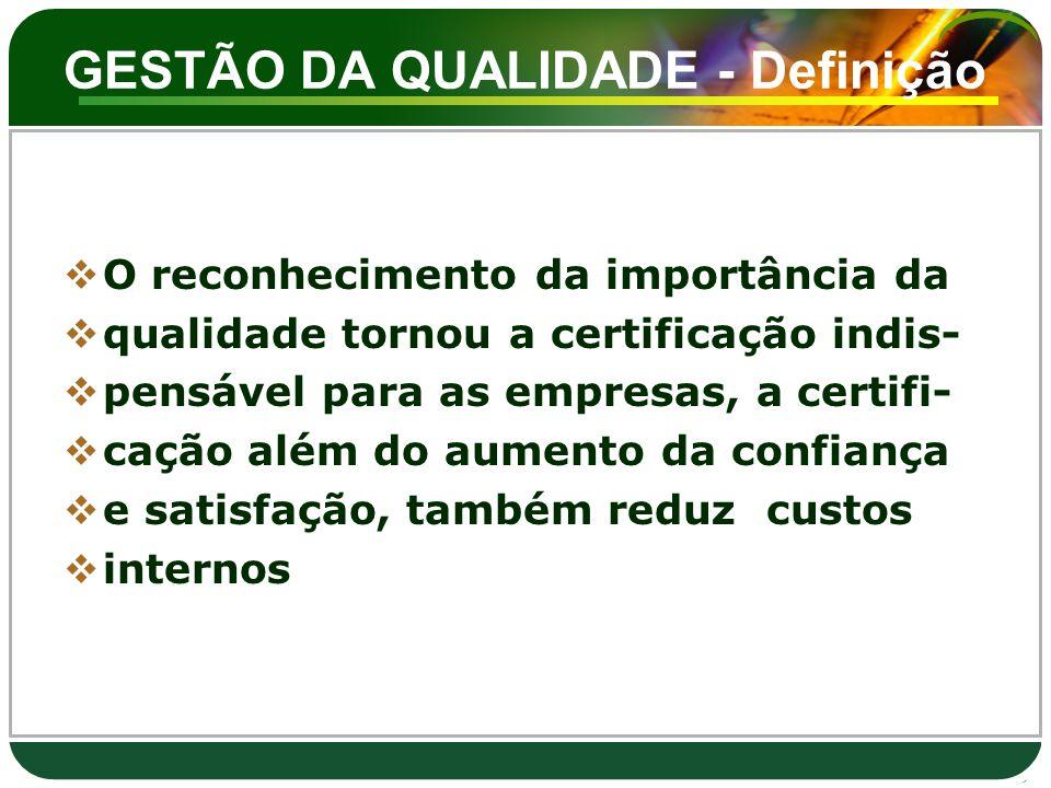 GESTÃO DA QUALIDADE - Definição