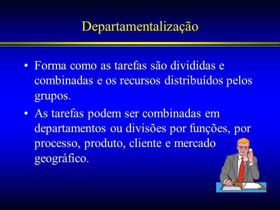 Departamentalização Forma como as tarefas são divididas e combinadas e os recursos distribuídos pelos grupos.
