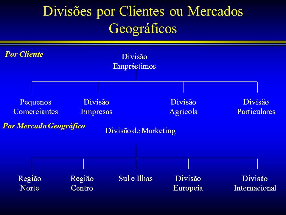 Divisões por Clientes ou Mercados Geográficos
