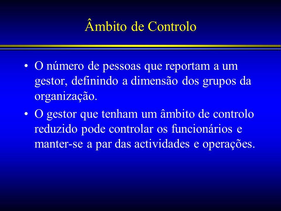 Âmbito de Controlo O número de pessoas que reportam a um gestor, definindo a dimensão dos grupos da organização.