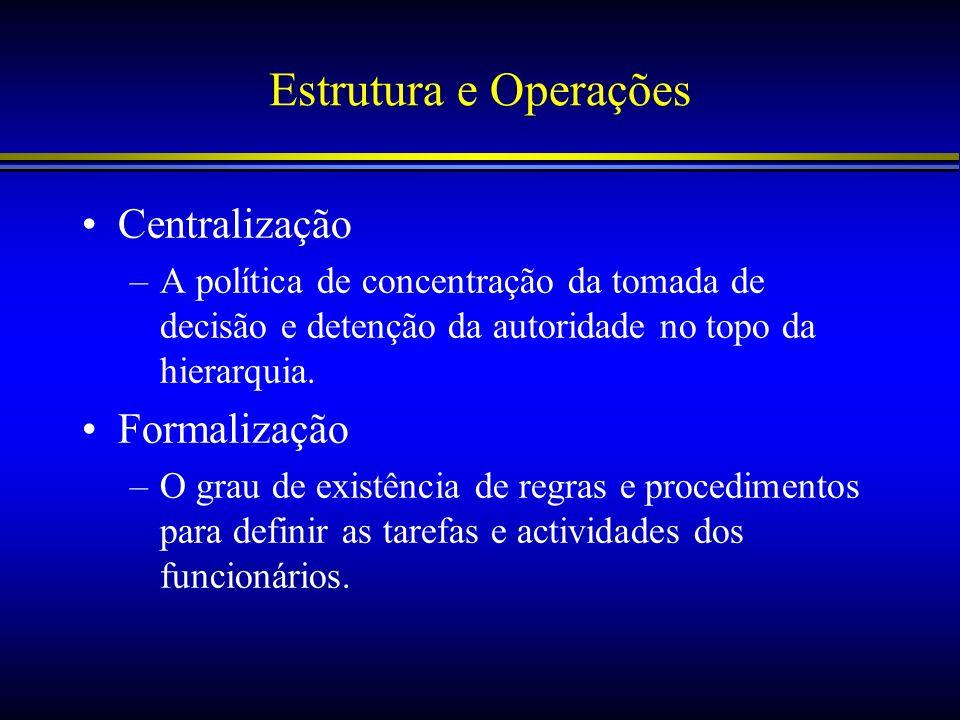 Estrutura e Operações Centralização Formalização