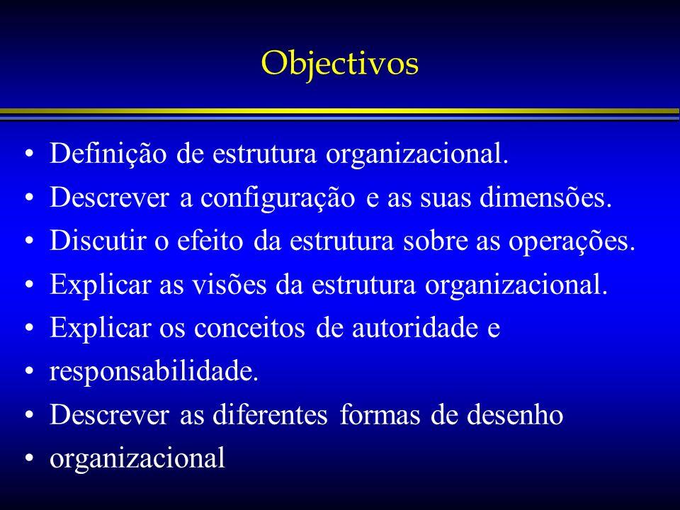Objectivos Definição de estrutura organizacional.