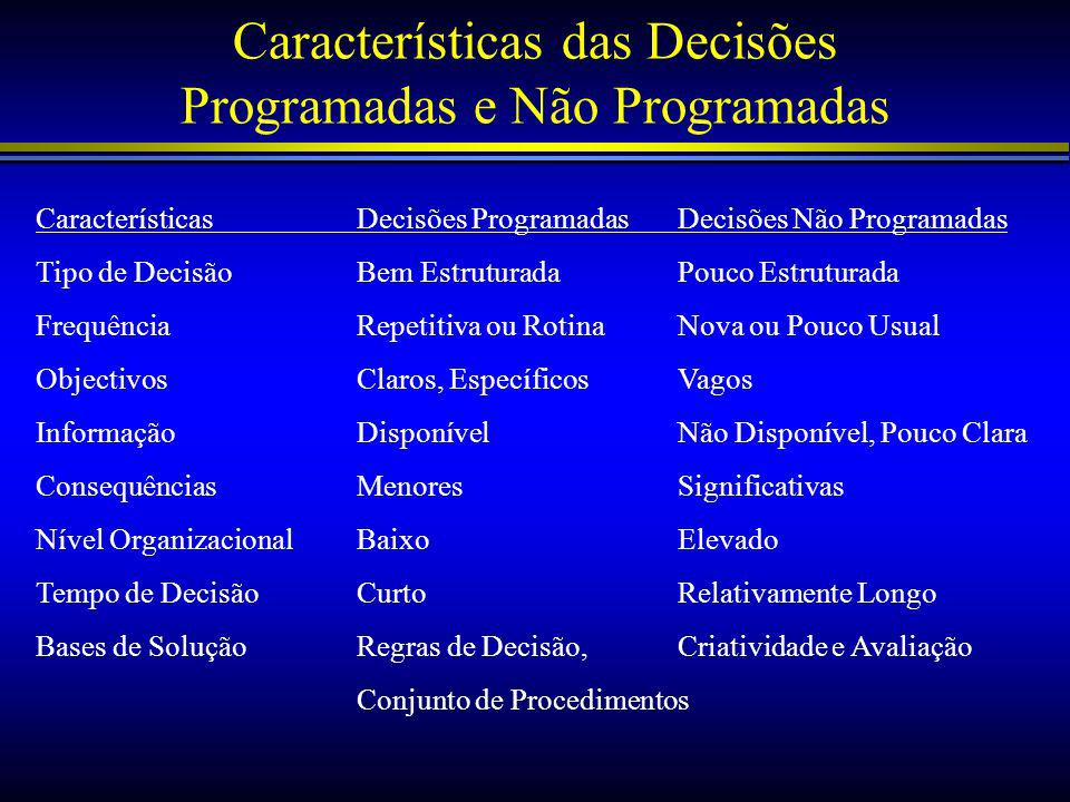 Características das Decisões Programadas e Não Programadas