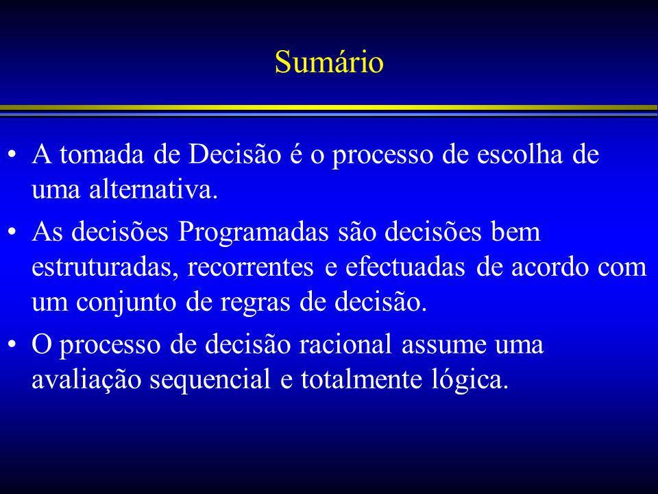 Sumário A tomada de Decisão é o processo de escolha de uma alternativa.