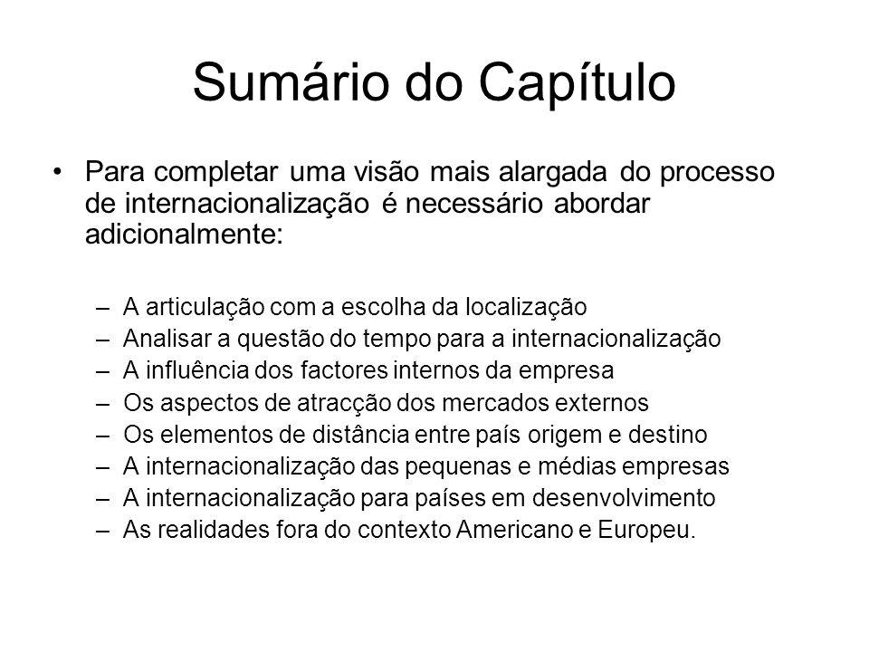 Sumário do CapítuloPara completar uma visão mais alargada do processo de internacionalização é necessário abordar adicionalmente: