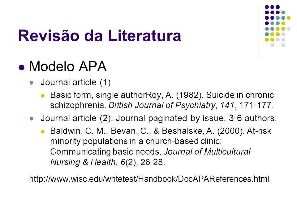 Revisão da Literatura Modelo APA