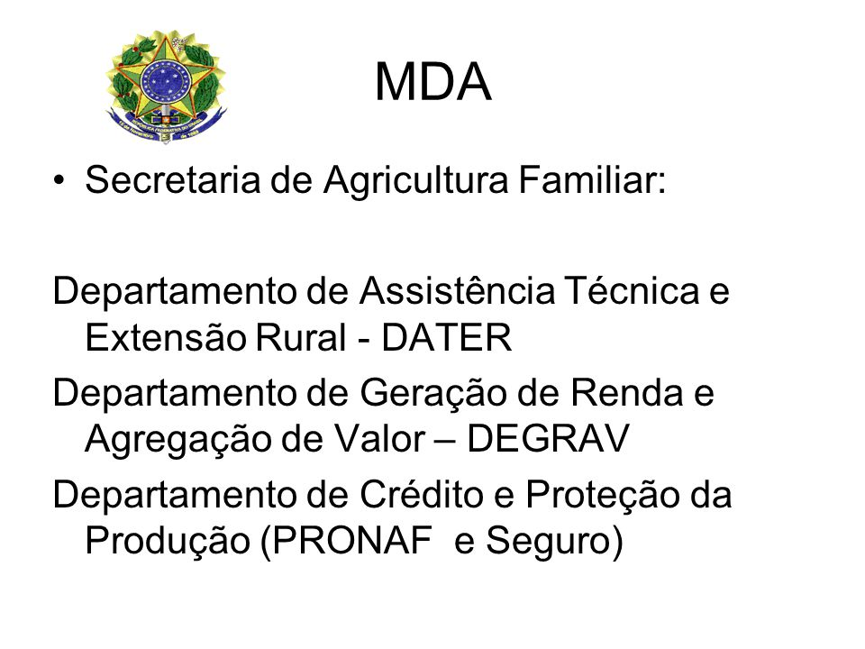 MDA Secretaria de Agricultura Familiar: