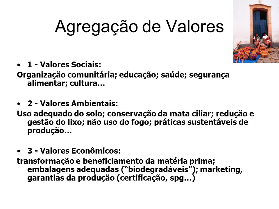 Agregação de Valores 1 - Valores Sociais: