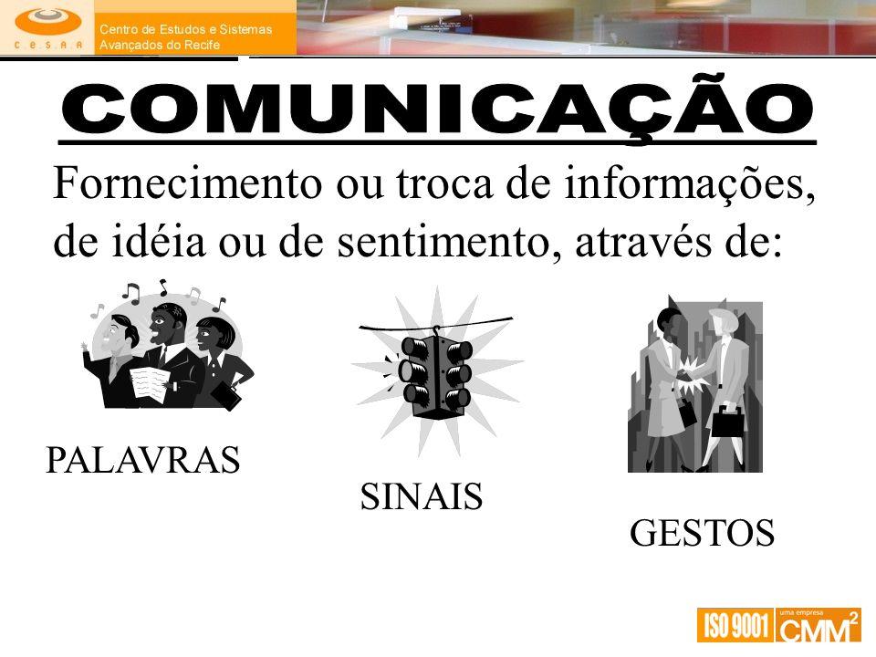 COMUNICAÇÃO Fornecimento ou troca de informações, de idéia ou de sentimento, através de: PALAVRAS.