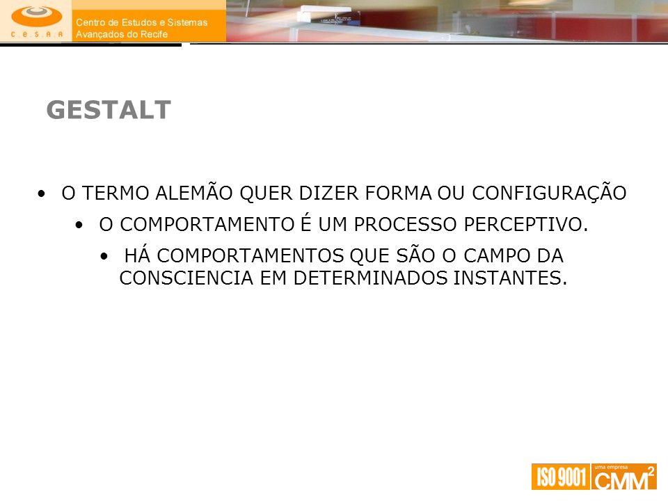 GESTALT O TERMO ALEMÃO QUER DIZER FORMA OU CONFIGURAÇÃO
