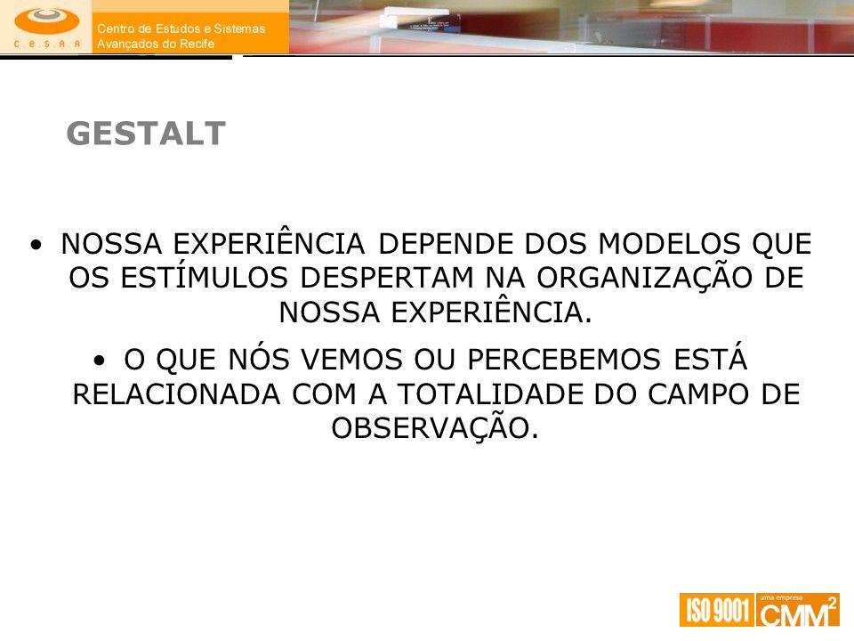 GESTALT NOSSA EXPERIÊNCIA DEPENDE DOS MODELOS QUE OS ESTÍMULOS DESPERTAM NA ORGANIZAÇÃO DE NOSSA EXPERIÊNCIA.