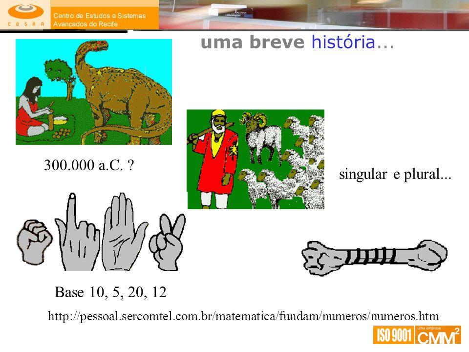 uma breve história... 300.000 a.C. singular e plural...