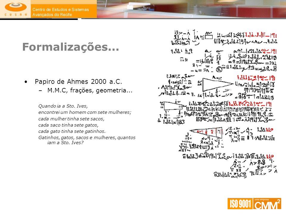 Formalizações... Papiro de Ahmes 2000 a.C.
