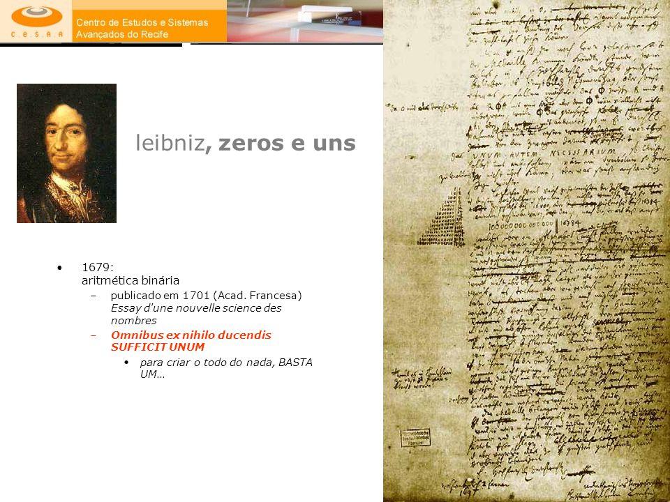 leibniz, zeros e uns 1679: aritmética binária